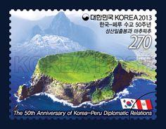 The 50th Anniversary of Korea-Peru Diplomatic Relations, Seongsan Ilchulbong Tuff Cone, Landscape, Green, Seagrass, 2013 04 01, 한국-페루 수교 50주년 기념우표(성산일출봉), 2013년 4월 1일, 2909, 성산일출봉, postage 우표