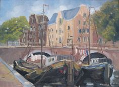 Brouwersgracht in Amsterdam met aangemeerde boten - olieverf op doek - Jan Kelderman (1914-1990)