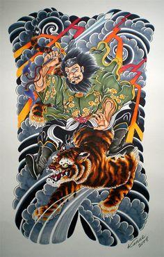 Shoki the Demon tattoo created by ichibay Backpiece Tattoo, Demon Tattoo, Irezumi Tattoos, Samurai Tattoo, Tiger Tattoo, Japanese Back Tattoo, Japanese Drawings, Japanese Tattoo Designs, Japanese Art