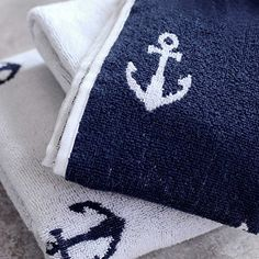 Lamont Home Anchors Hand Towel - Nautical themed bathroom or kitchen hand towel for your beach home.