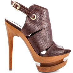 They'll be curious as how you pull of these hot heels so well. Jessica Simpson's Cat style brings you a brown snake stamped upper with adjusting strap. Cut outs, an architecturally shaped 1 1/4 inch platform, and 5 1/2 inch stiletto heel concludes this charmer.