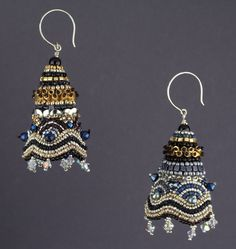 """Bead Embroidered earrings """"Iconic"""" from """"Textured Bead Embroidery"""" by Linda K Landy."""