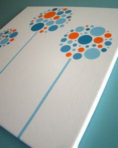 Artist will do in any color combo Modern Flowers Orange Aqua Canvas Fabric Wall by elanarosadesign, $100.00