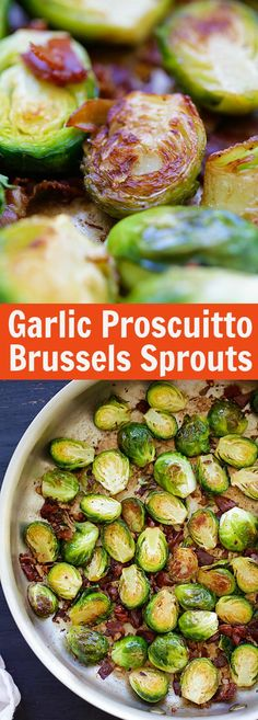 Garlic-Prosciutto Brussels Sprouts - roasted brussels sprouts with smoky proscuitto. Saute on skillet and finsih in oven, 20 mins only. Side Dish Recipes, Vegetable Recipes, Vegetarian Recipes, Cooking Recipes, Healthy Recipes, Roast Recipes, Roasted Sprouts, Prosciutto, Vegetable Side Dishes