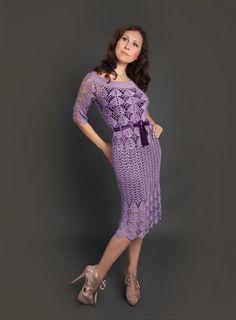 Purple exclusive crochet dress Filomena hand by LecrochetArt