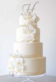 Tartas de boda con orquídeas: fotos ideas originales - Tarta con orquídeas blancas
