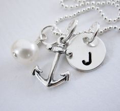 Nautical Wedding - Bridesmaid Necklace - Gift set of 4 Necklaces - Sterling Silver - Personalized Wedding. $120.00, via Etsy.