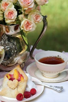 Afternoon tea party setting ..outdoors and I just love the envelope-shaped pastry!