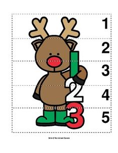 Number Sequence Preschool Picture Puzzle - Christmas Reindeer from Worksheet Teacher Fun Worksheets For Kids, Christmas Worksheets, Winter Activities For Kids, Christmas Puzzle, Preschool Christmas, Christmas Themes, Preschool Activity Books, Christmas Cards Drawing, Preschool Pictures