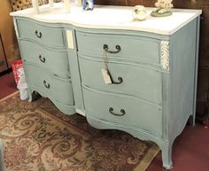Painted French provincial  dresser.  Old White and Duck Egg Blue Annie Sloan chalk paint.   Design by The Blue Door of Greenville. Can be seen and purchased at Southern Estates Antiques in Greenville, SC.  864-299-8981