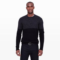 Color blocked sweaters are great way to dress up, but still down.  This can work with a t-shirt underneath or with a collared shirt in white, black, navy, or grey.