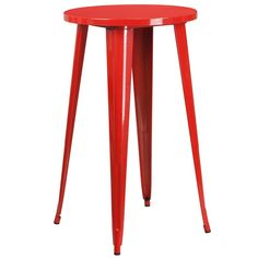 iHome Collins Round 24'' Red Metal Bar Height Table for Indoor/Outdoor/Patio/Bar/Restaurant, Patio Furniture