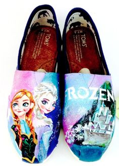 Frozen Gifts for Her:  Disney's Frozen Princess Elsa and Princess Anna Hand Painted Women's Toms Shoes by Artsy Sole 45 @ Etsy