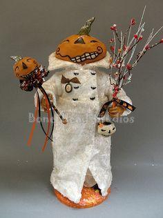 Zacharias - Halloween  , folk art , pumpkin -cotton batting , art doll ,