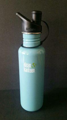 Klean Kanteen Blue Stainless Steel Classic Water Bottle 27oz Sport Cap #KleanKanteen