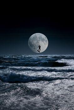 Kitesurfer in a blue night sky horizon by Mira Pen on 500px
