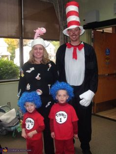Family costumes with the twins as thing 1 and thing 2