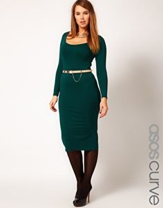 619c8cc2cf5 ASOS CURVE Exclusive Bodycon Dress in Midi Length With Sleeve at asos.com