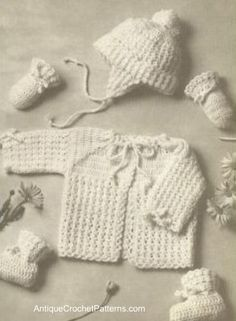 Puff Stitch Baby Set free crochet pattern - I made this for my son when he was born many years ago