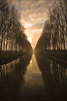 Sunrise in Schipdonkkanaal, Damme, Belgium