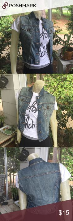 The Limited Denim Jean Vest NWT NWT Size XS The Limited light distressed denim vest on-trend! The Limited Jackets & Coats Vests