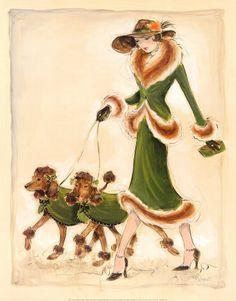 Prancing Poodles  Art Print  by Karen Dupré