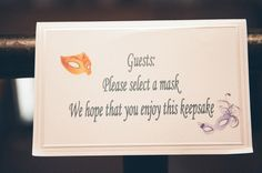 Signage for Masquerade Themed Wedding shot by 5 West Studios via Melissa Hearts Wedding Blog
