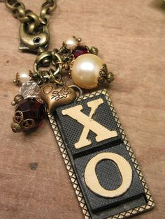Upcycled Anagram Necklace - Hugs and Kisses by thekeyofa, $78.50