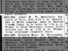 Miller, Albert E: Death Notice, 26 Aug 1948