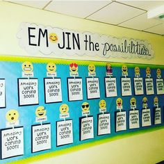 @mrs.ashleighglen 's bulletin board game is strong! The Emojis are from www.shoperintegration.com and she hand lettered the large cloud sign above. Students are going to love hanging their special work here!