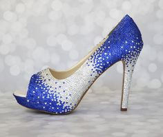 Wedding Shoes -- Silver and Royal Blue Ombre Rhinestone Covered Peep Toes by Ellie Wren Custom Wedding Shoes