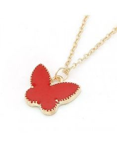 Sweet Golden Rim Butterfly Pendant Necklace - Red