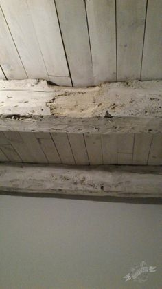 Annie Sloan Chalk Paint™ Old White washing ceiling and beams - maybe less white but similar idea...