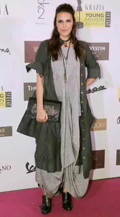 Neha Dhupia at Grazia Awards 2016 Morocco Fashion, Ethnic Fashion, Indian Fashion, Stylish Dress Designs, Stylish Dresses, Nice Dresses, Kaftan Designs, Blouse Designs, Indian Designer Outfits