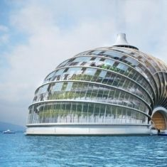 The Ark  is a concept for a home designed to protect from extreme weather and created to be self-reliant.  The arch-shaped building, has a structure that enables it to float and .  also designed to be a bioclimatic house with independent life-support systems, including elements ensuring a closed-functioning cycle.   architect Alexander Remizov
