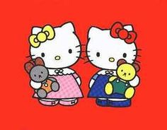 Did you know Hello Kitty has a Twin Sister ??  Her name is Mimmy....   How can you to tell the difference between Kitty and Mimmy? Look at both of their bow. Hello Kitty prefers a red bow in her left ear on the other hand Mimmy prefers a yellow bow on her right ear.