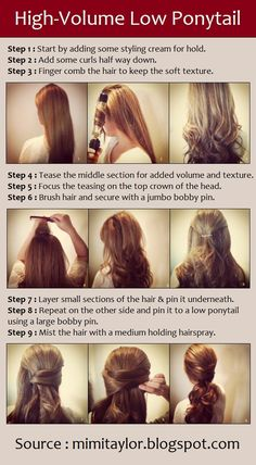 Looks cool! High-Volume Low Ponytail | PinTutorials