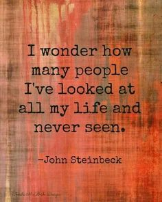 I wonder how many people I've looked at all my life and never seen. ~ John Steinbeck, The Winter of Our Discontent