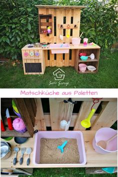 ᐅ Matschküche selber bauen aus Paletten & Obstkisten This great DIY mud kitchen for the garden makes children's hearts beat faster. The outdoor play kitchen supports the motor skills of your child Outdoor Play Kitchen, Diy Mud Kitchen, Mud Kitchen For Kids, Slate Kitchen, Kids Outdoor Play, Backyard Playground, Backyard For Kids, Diy For Kids, Backyard House