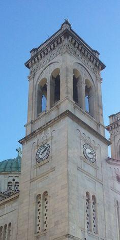 two faces clock, St Basil's church Tripolis, Greece Corinth Canal, St Basil's, Town Hall, Continents, Arcadia Greece, Greek, Towers, Clocks, Colorado