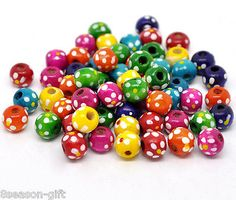 Wood 179274: Wholesale Lots Hx Mixed Dyed Dot Round Wood Spacer Beads 10X9mm -> BUY IT NOW ONLY: $32.56 on eBay!
