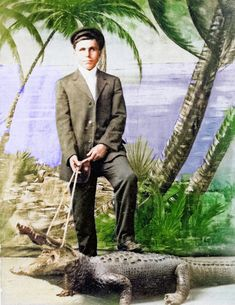 Unidentified man with fake alligator photo studio, Key West. Colorized by Steve Smith Colorized History, Steve Smith, Key West, Photo Studio, Florida, Fictional Characters, The Florida, Fantasy Characters, Photography Studios