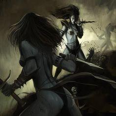 Dark Elf witches decimating their enemy. d&d, pathfinder, rpg. Warhammer Dark Elves, Warhammer 40k Art, Warhammer Fantasy, Fantasy Rpg, Fantasy Artwork, Fantasy World, Dark Fantasy, Witch Elves, Dragon Ball Z