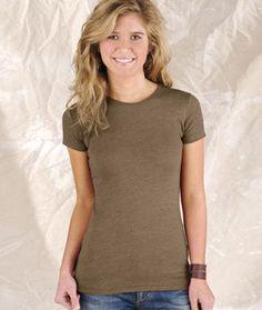 LA T Juniors' Fine Jersey Vintage Longer Length T-Shirt 3605 Vintage Brown