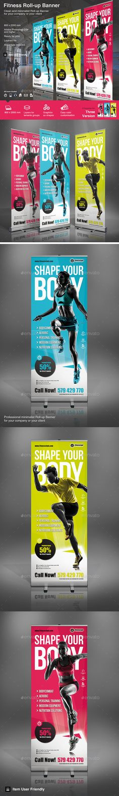 Fitness Roll-up Template #design Download: http://graphicriver.net/item/fitness-rollup/12496979?ref=ksioks