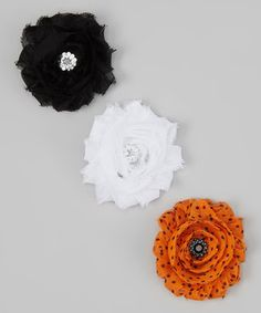 Look what I found on #zulily! The Bow Lady White, Black & Orange Shabby Flower Hair Clip Set by The Bow Lady #zulilyfinds