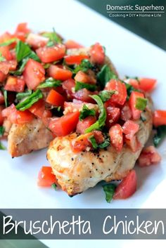 When I first saw the recipe for this Skinny Bruschetta Chicken I thought it was the perfect meal for a warm day.  A couple weeks ago, it was still in the high 80's here in Atlanta.  I wish it cooled off earlier, but it does give me the chance to stretch those summer vegetables.  With the basil still thriving, and tomatoes still at peak, this is a cheap, healthy, and easy meal.  You can chose whether to grill, bake, or heat the chicken in a skillet. Season with salt and pepper first, and th