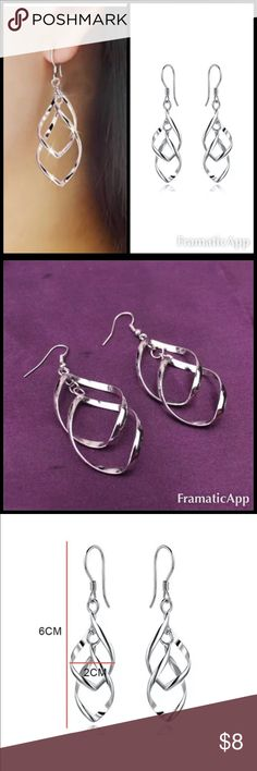 """🎼 The Long Way 🎼 Bin:   C2 Brand:  Boutique  Condition:  BNIP Style:  dangle Features:  gorgeous silver swirl earrings  Material:   Silver plating  Measurements:  1-34/"""" length Jewelry Earrings"""