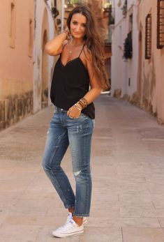 black tank, denim capris, converse