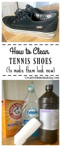 Easy tip for washing tennis shoes to make them look like new again. One of my favorite cleaning hacks! Deep Cleaning Tips, House Cleaning Tips, Cleaning Solutions, Spring Cleaning, Cleaning Hacks, Speed Cleaning, Cleaning Recipes, Clean Tennis Shoes, Hacks